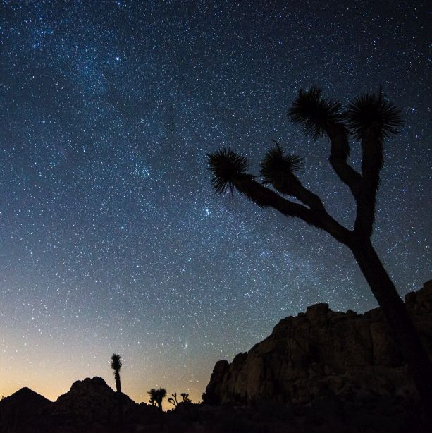 Starry sky above Coachella Valley with lightp pollution at the horizon